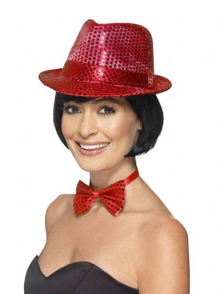 Sequin Trilby Hat Red